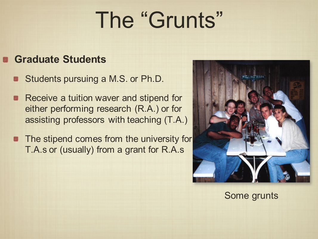 The Grunts Graduate Students Students pursuing a M.S.