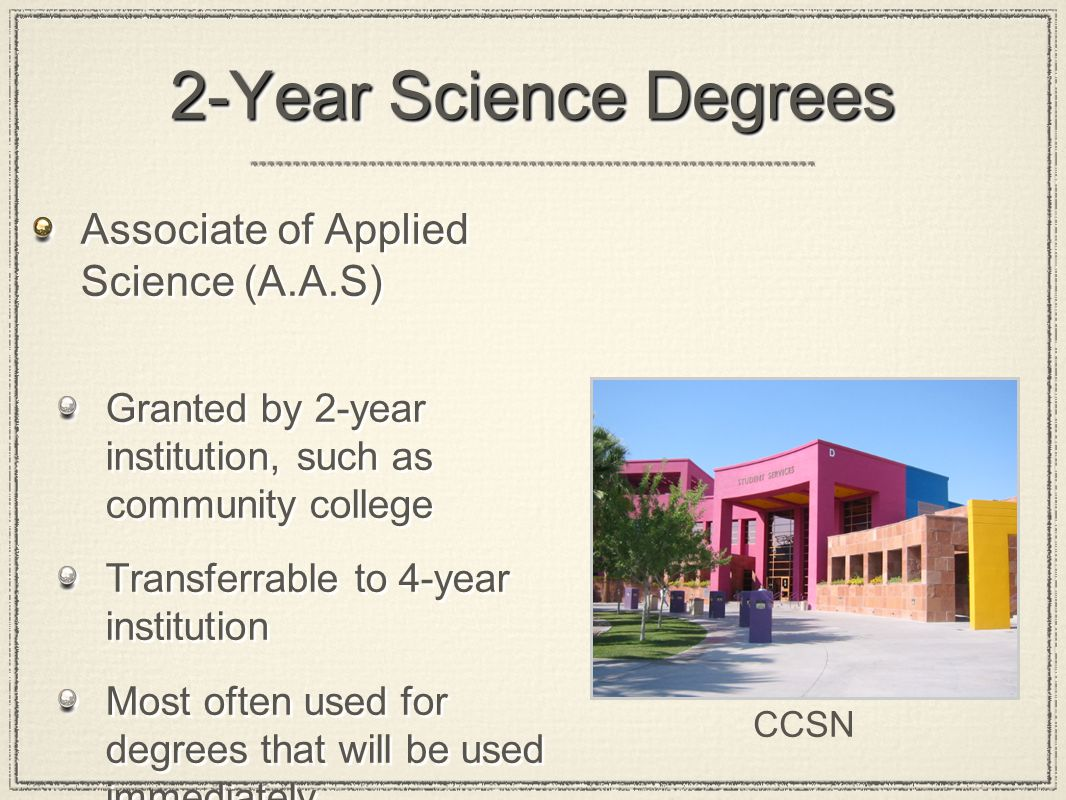 2-Year Science Degrees Associate of Applied Science (A.A.S) Associate of Science (A.S.) Asssociate of Nursing Associate of Technology Associate of Applied Science (A.A.S) Associate of Science (A.S.) Asssociate of Nursing Associate of Technology CCSN