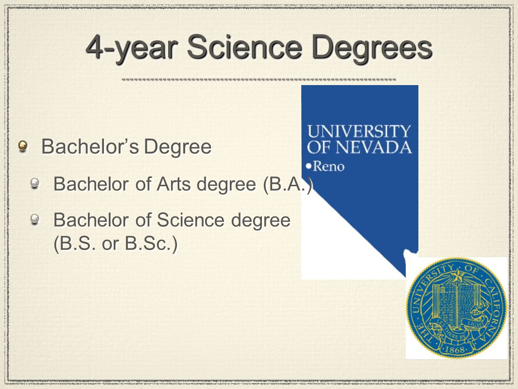 4-year Science Degrees Bachelor's Degree Bachelor of Arts degree (B.A.) Bachelor of Science degree (B.S.