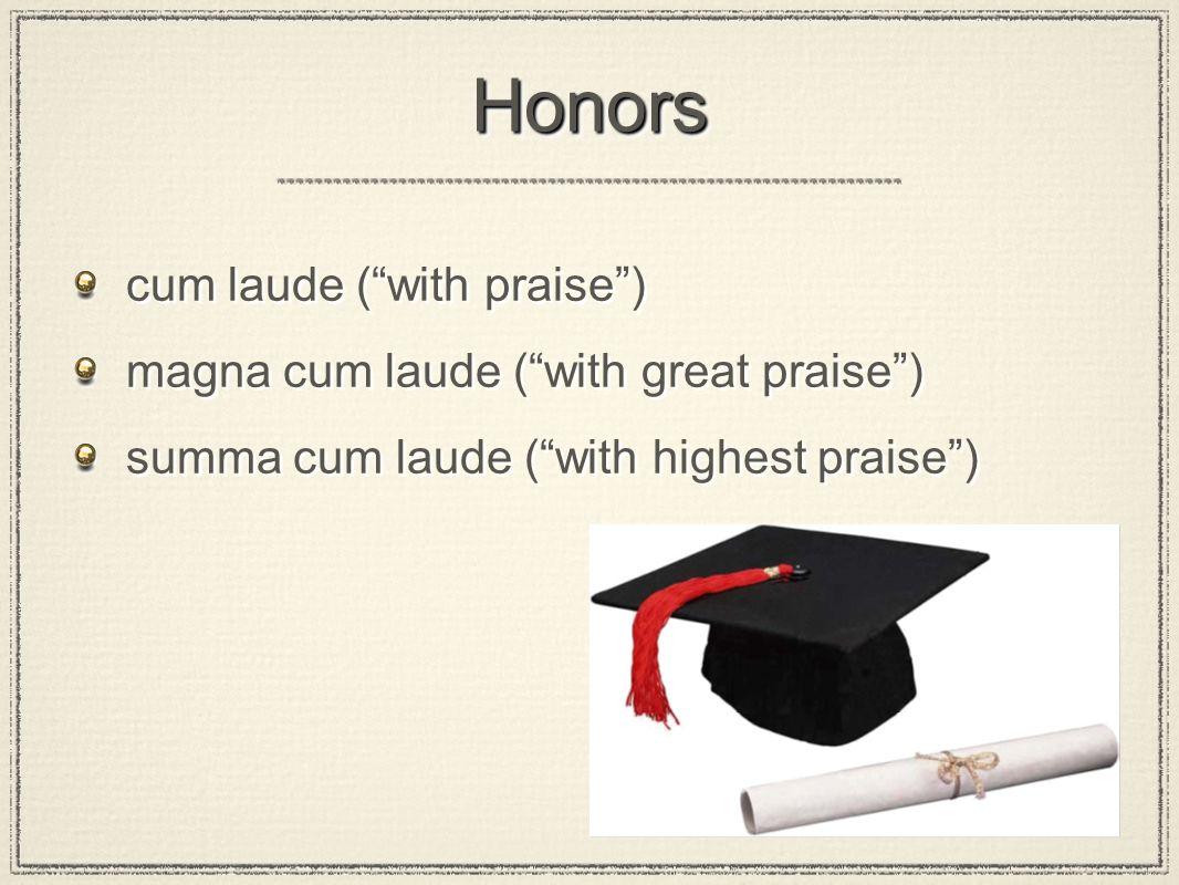 HonorsHonors cum laude ( with praise ) magna cum laude ( with great praise ) summa cum laude ( with highest praise ) cum laude ( with praise ) magna cum laude ( with great praise ) summa cum laude ( with highest praise )