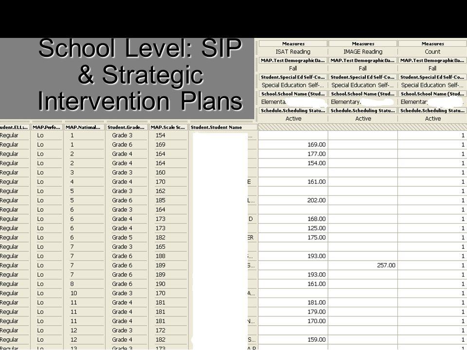 School Level: SIP & Strategic Intervention Plans