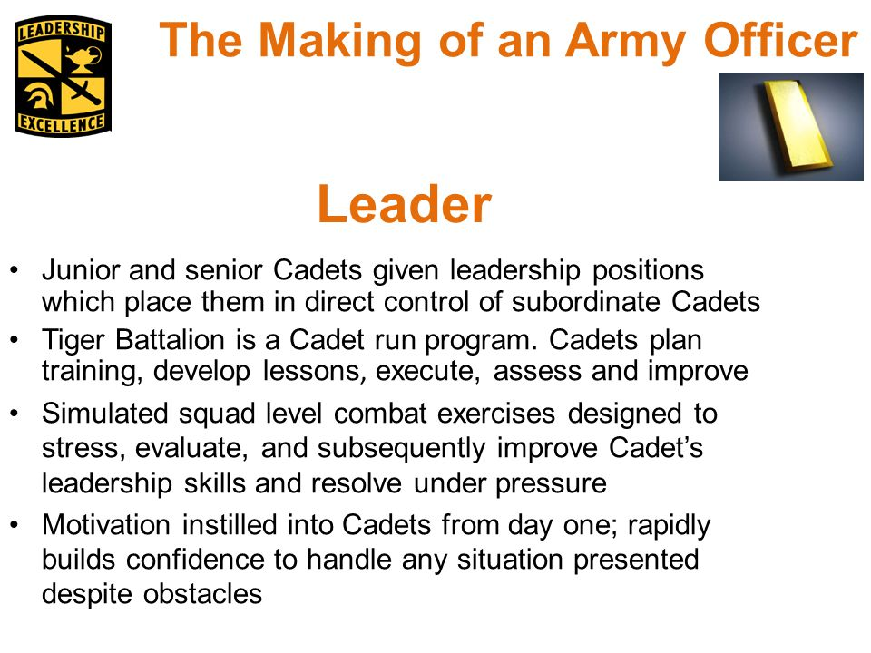 Junior and senior Cadets given leadership positions which place them in direct control of subordinate Cadets Tiger Battalion is a Cadet run program.