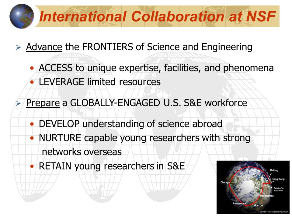 International Collaboration at NSF  Advance the FRONTIERS of Science and Engineering ACCESS to unique expertise, facilities, and phenomena LEVERAGE limited resources  Prepare a GLOBALLY-ENGAGED U.S.