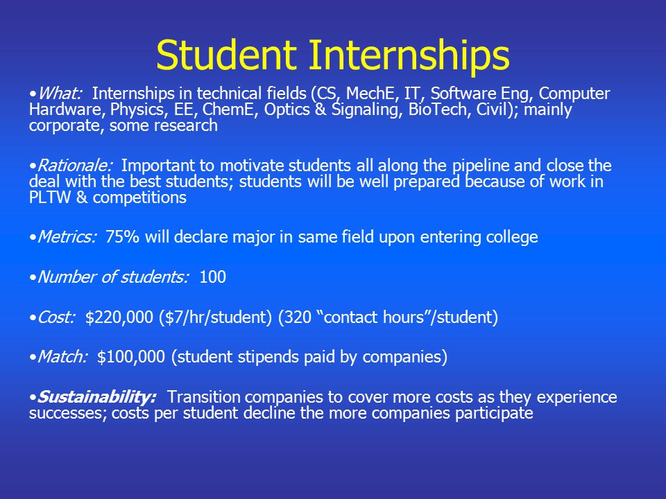 Student Internships What: Internships in technical fields (CS, MechE, IT, Software Eng, Computer Hardware, Physics, EE, ChemE, Optics & Signaling, BioTech, Civil); mainly corporate, some research Rationale: Important to motivate students all along the pipeline and close the deal with the best students; students will be well prepared because of work in PLTW & competitions Metrics: 75% will declare major in same field upon entering college Number of students: 100 Cost: $220,000 ($7/hr/student) (320 contact hours /student) Match: $100,000 (student stipends paid by companies) Sustainability: Transition companies to cover more costs as they experience successes; costs per student decline the more companies participate