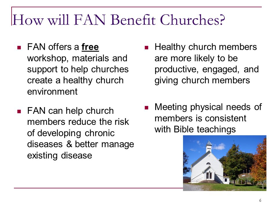 How will FAN Benefit Churches.