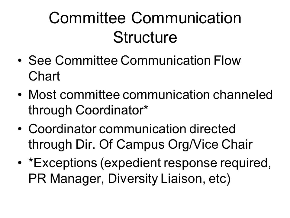 Committee Communication Structure See Committee Communication Flow Chart Most committee communication channeled through Coordinator* Coordinator communication directed through Dir.