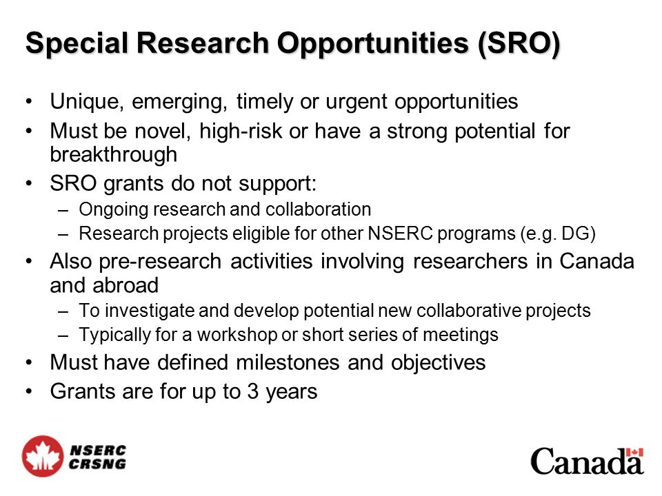 Special Research Opportunities (SRO) Unique, emerging, timely or urgent opportunities Must be novel, high-risk or have a strong potential for breakthrough SRO grants do not support: –Ongoing research and collaboration –Research projects eligible for other NSERC programs (e.g.