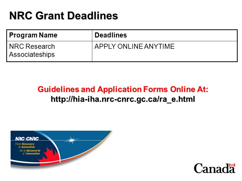NRC Grant Deadlines Program NameDeadlines NRC Research Associateships APPLY ONLINE ANYTIME Guidelines and Application Forms Online At: http://hia-iha.