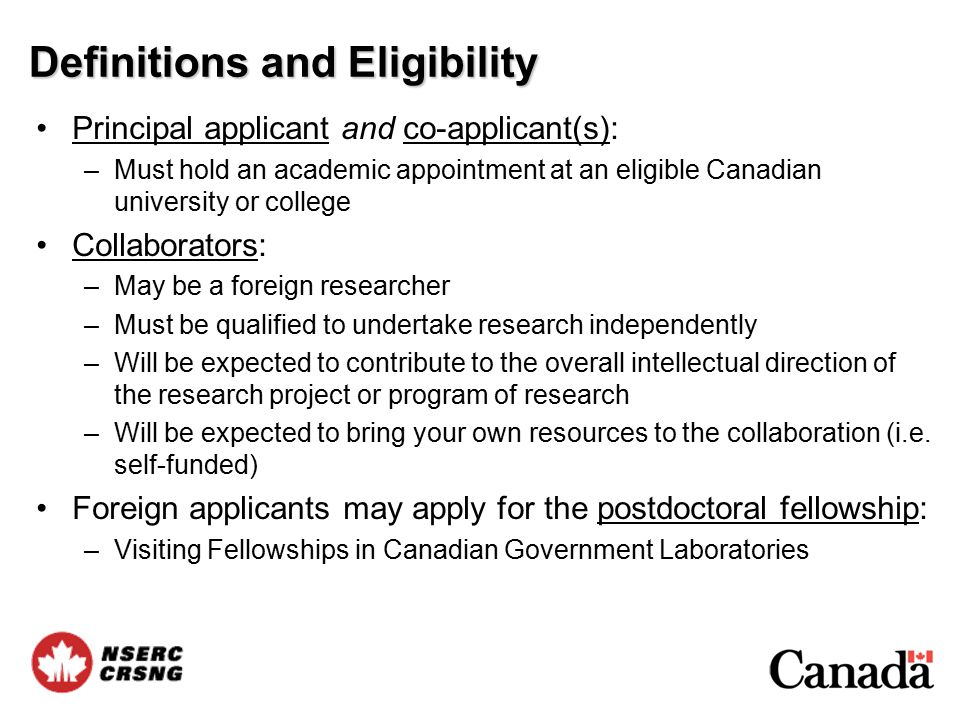 Tools to find a Canadian Researcher NSERC Awards Search Engine –Information on NSERC funded projects since 1991 –Allows foreign researchers to identify Canadian researchers that received NSERC funds in specific fields of research –www.nserc.gc.ca/programs/result/database.htmwww.nserc.gc.ca/programs/result/database.htm NSERC Chairholder Database: –Connect with Canada's leading scientists and engineers –Profiles of chairholders' activities, keyword search, contact information –www.nserc.gc.ca/partners/chairs_e.aspwww.nserc.gc.ca/partners/chairs_e.asp Canada Research Chairs: –Profiles of each of the Canada Research Chairs –www.chairs.gc.ca/web/chairholders/index_e.aspwww.chairs.gc.ca/web/chairholders/index_e.asp