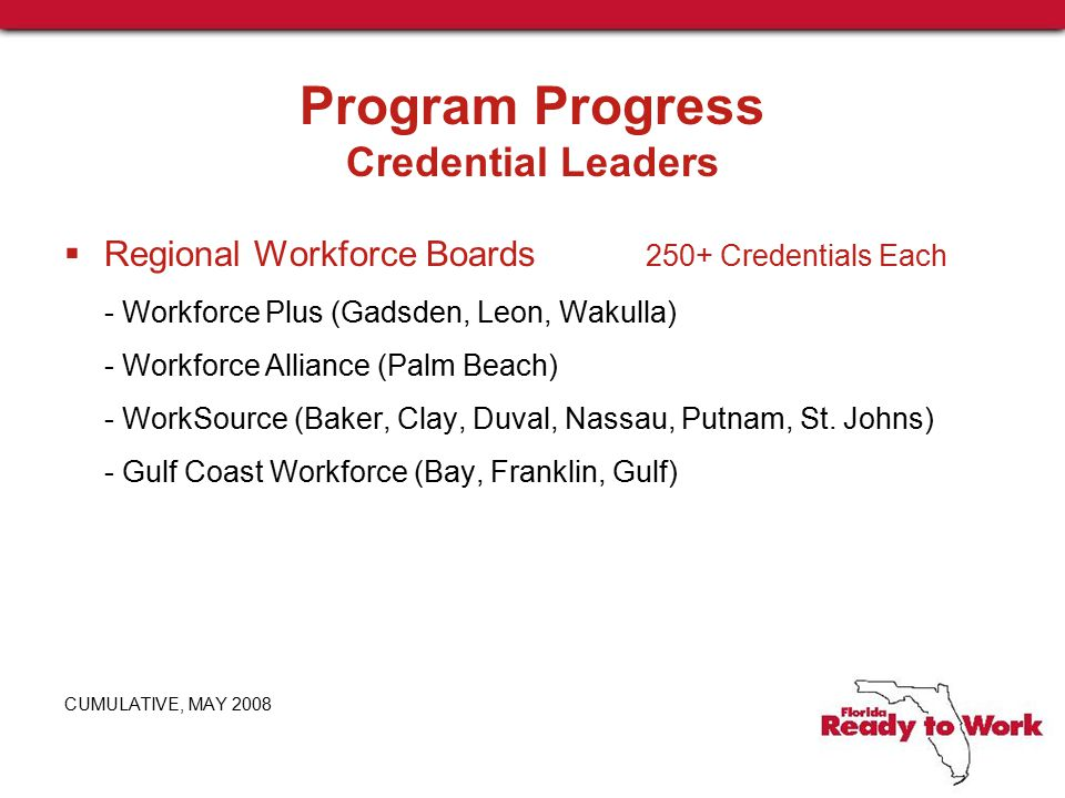 Program Progress Credential Leaders  Regional Workforce Boards 250+ Credentials Each - Workforce Plus (Gadsden, Leon, Wakulla) - Workforce Alliance (Palm Beach) - WorkSource (Baker, Clay, Duval, Nassau, Putnam, St.