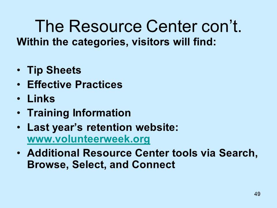 49 The Resource Center con't.
