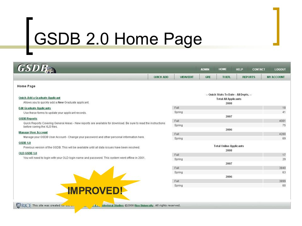 GSDB 2.0 Home Page IMPROVED!