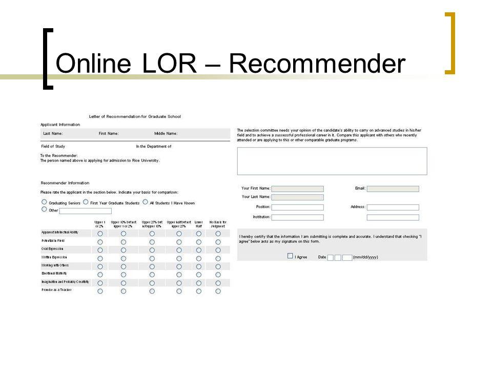 Online LOR – Recommender