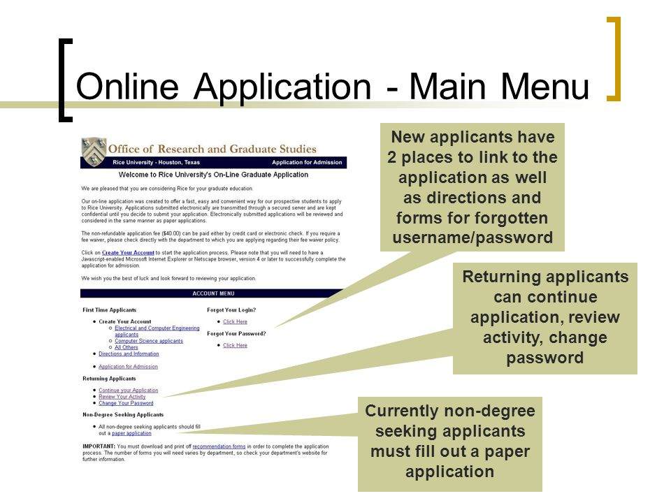 Online Application - Main Menu Returning applicants can continue application, review activity, change password New applicants have 2 places to link to the application as well as directions and forms for forgotten username/password Currently non-degree seeking applicants must fill out a paper application