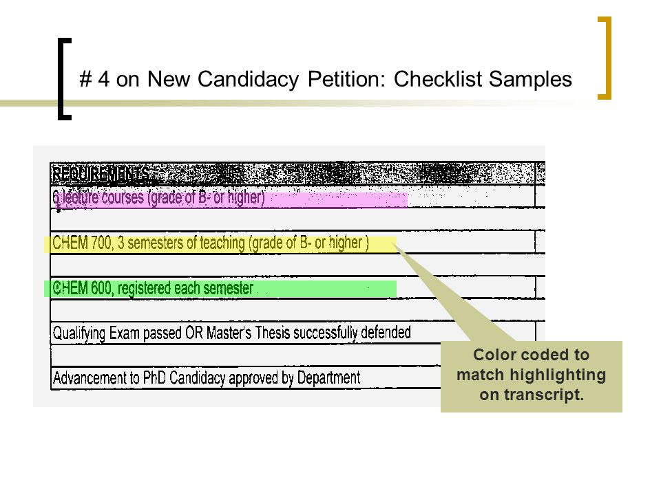 # 4 on New Candidacy Petition: Checklist Samples Color coded to match highlighting on transcript.