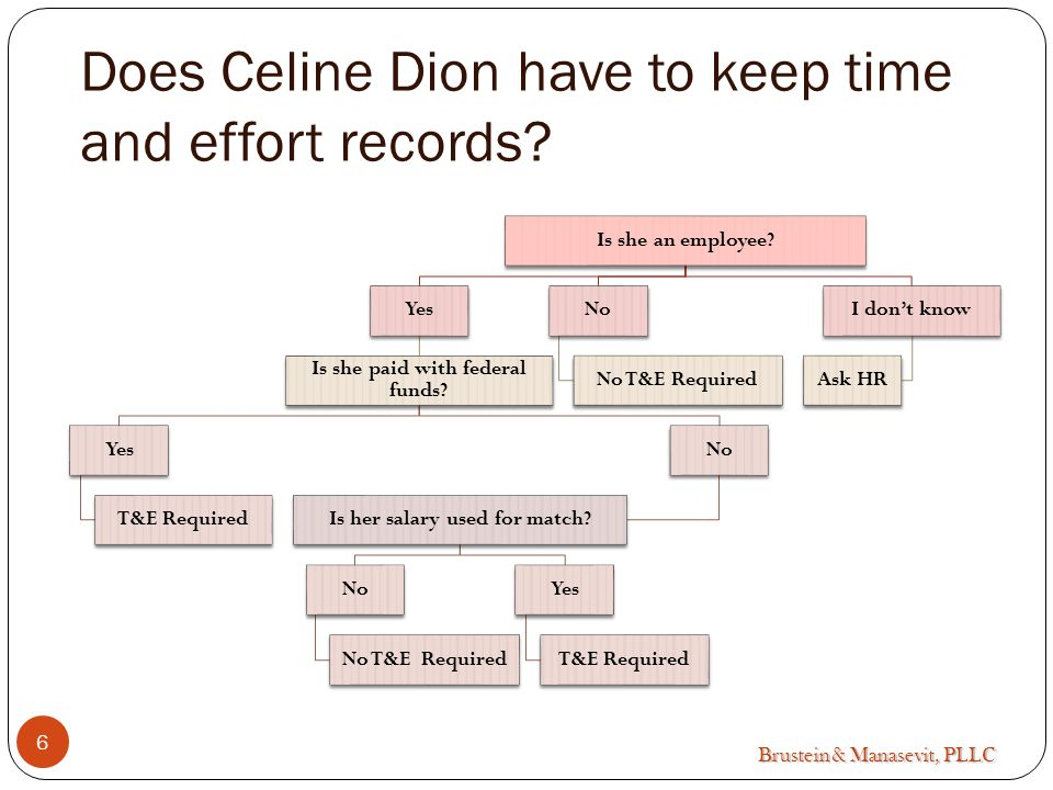 Brustein & Manasevit, PLLC Does Celine Dion have to keep time and effort records.