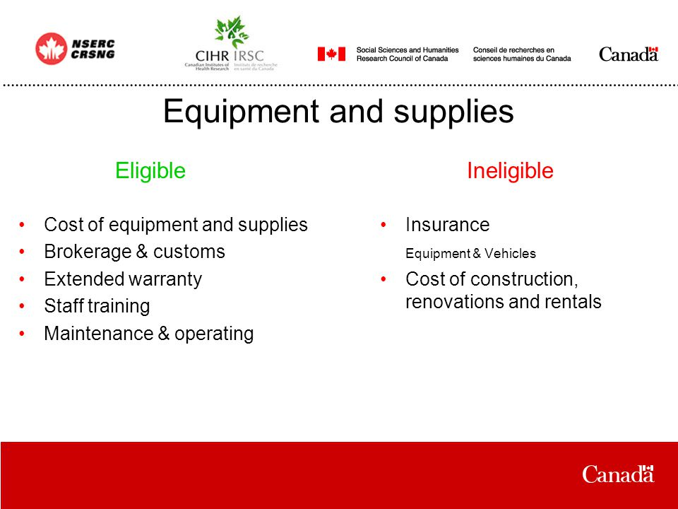 Equipment and supplies Cost of equipment and supplies Brokerage & customs Extended warranty Staff training Maintenance & operating Insurance Equipment & Vehicles Cost of construction, renovations and rentals EligibleIneligible