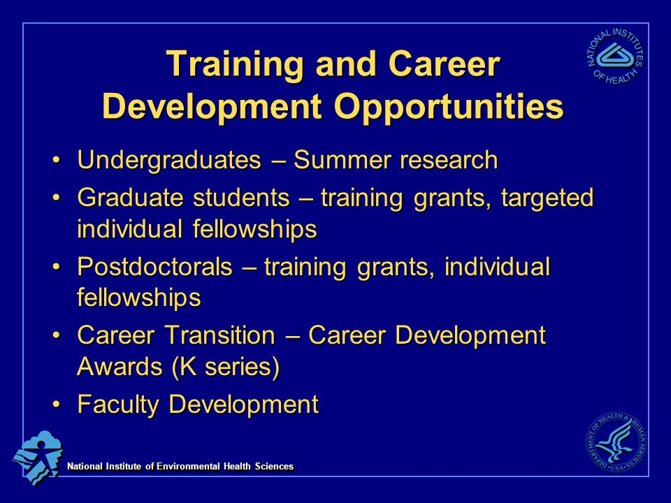 National Institute of Environmental Health Sciences Training and Career Development Opportunities Undergraduates – Summer researchUndergraduates – Summer research Graduate students – training grants, targeted individual fellowshipsGraduate students – training grants, targeted individual fellowships Postdoctorals – training grants, individual fellowshipsPostdoctorals – training grants, individual fellowships Career Transition – Career Development Awards (K series)Career Transition – Career Development Awards (K series) Faculty DevelopmentFaculty Development