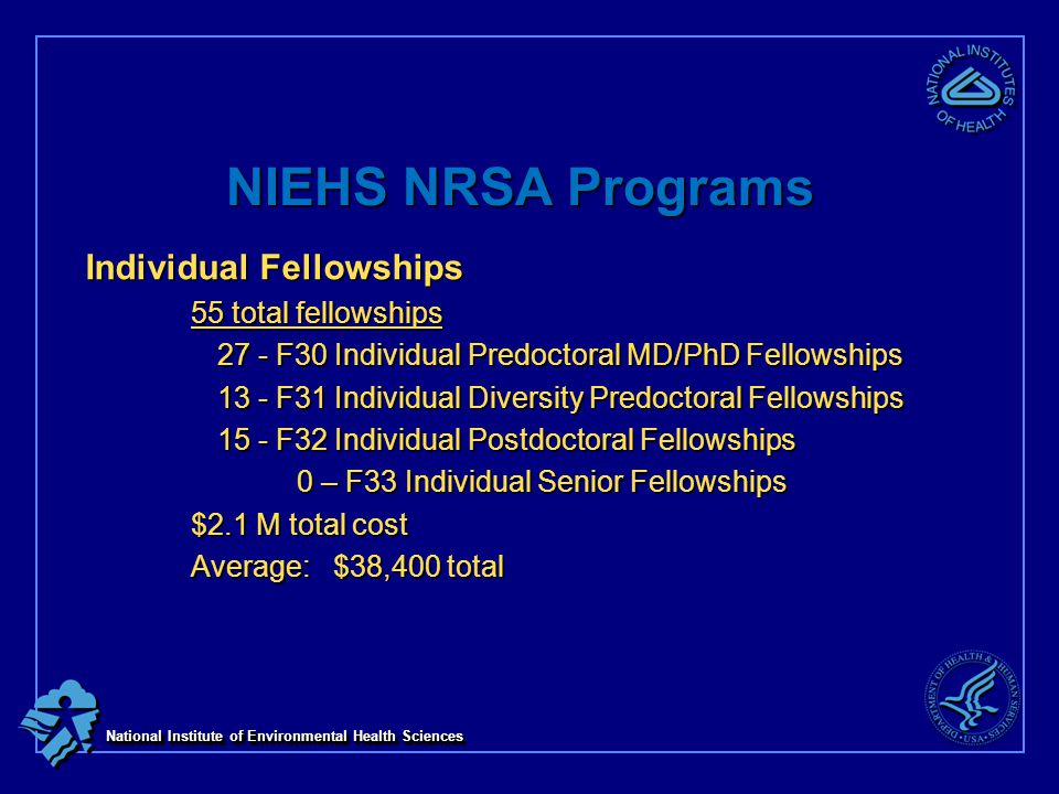 National Institute of Environmental Health Sciences NIEHS NRSA Programs Individual Fellowships 55 total fellowships 27 - F30 Individual Predoctoral MD/PhD Fellowships 13 - F31 Individual Diversity Predoctoral Fellowships 15 - F32 Individual Postdoctoral Fellowships 0 – F33 Individual Senior Fellowships $2.1 M total cost Average: $38,400 total
