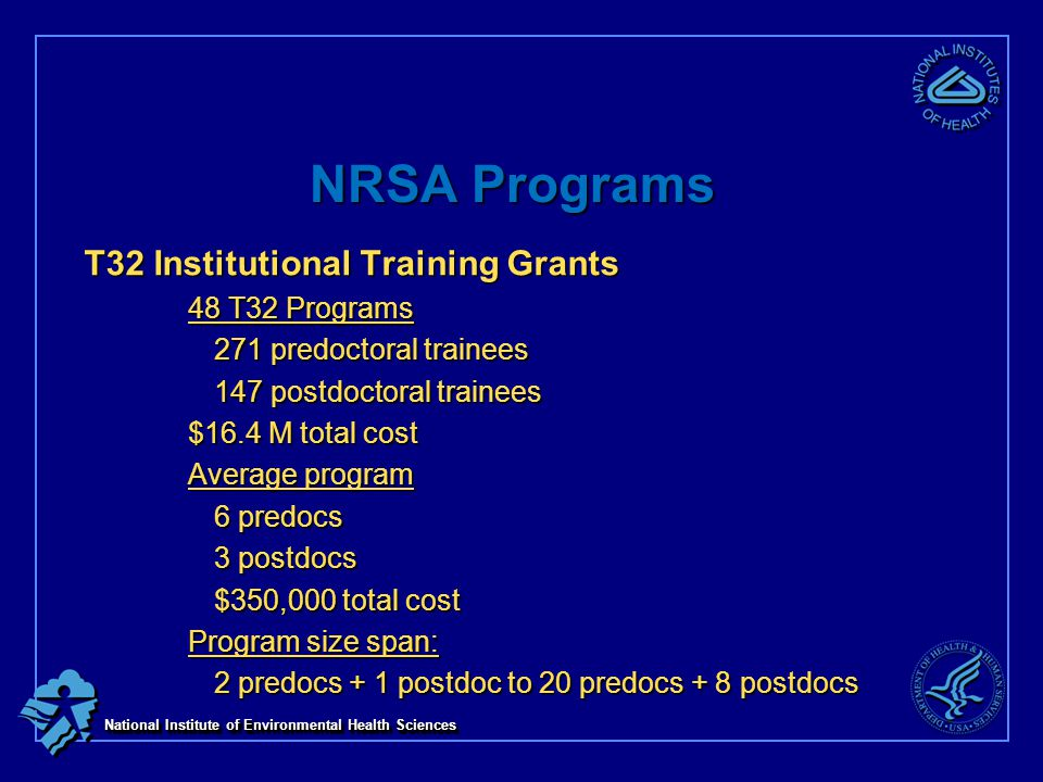 National Institute of Environmental Health Sciences NRSA Programs T32 Institutional Training Grants 48 T32 Programs 271 predoctoral trainees 147 postdoctoral trainees $16.4 M total cost Average program 6 predocs 3 postdocs $350,000 total cost Program size span: 2 predocs + 1 postdoc to 20 predocs + 8 postdocs