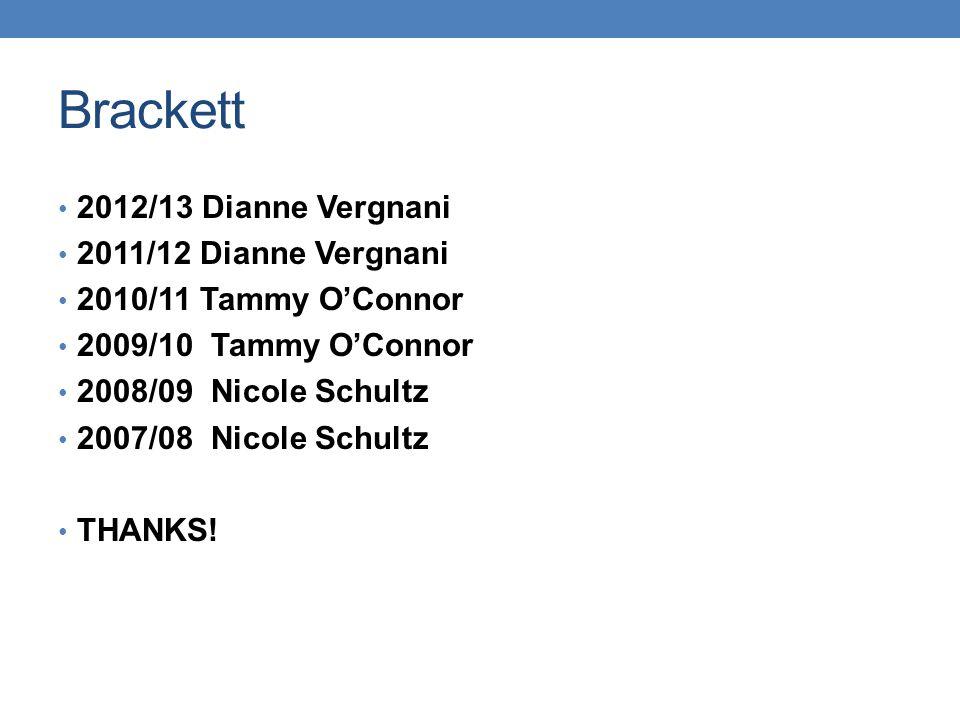 Brackett 2012/13 Dianne Vergnani 2011/12 Dianne Vergnani 2010/11 Tammy O'Connor 2009/10 Tammy O'Connor 2008/09 Nicole Schultz 2007/08 Nicole Schultz THANKS!
