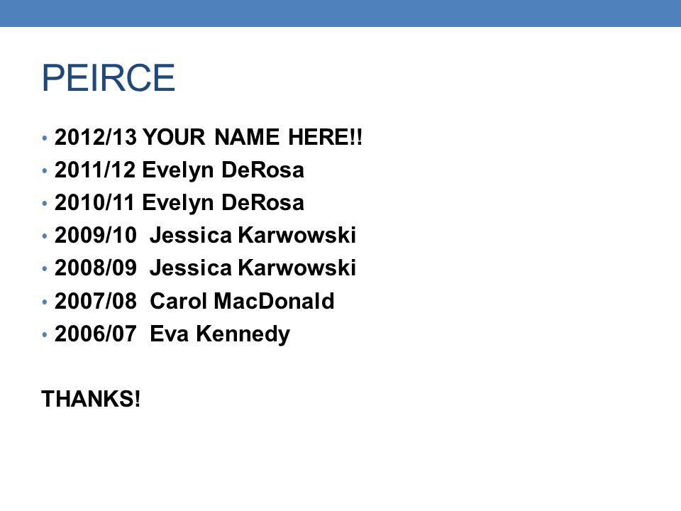 PEIRCE 2012/13 YOUR NAME HERE!! 2011/12 Evelyn DeRosa 2010/11 Evelyn DeRosa 2009/10 Jessica Karwowski 2008/09 Jessica Karwowski 2007/08 Carol MacDonal