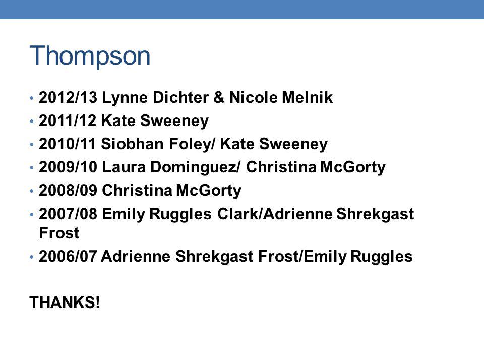 Thompson 2012/13 Lynne Dichter & Nicole Melnik 2011/12 Kate Sweeney 2010/11 Siobhan Foley/ Kate Sweeney 2009/10 Laura Dominguez/ Christina McGorty 200