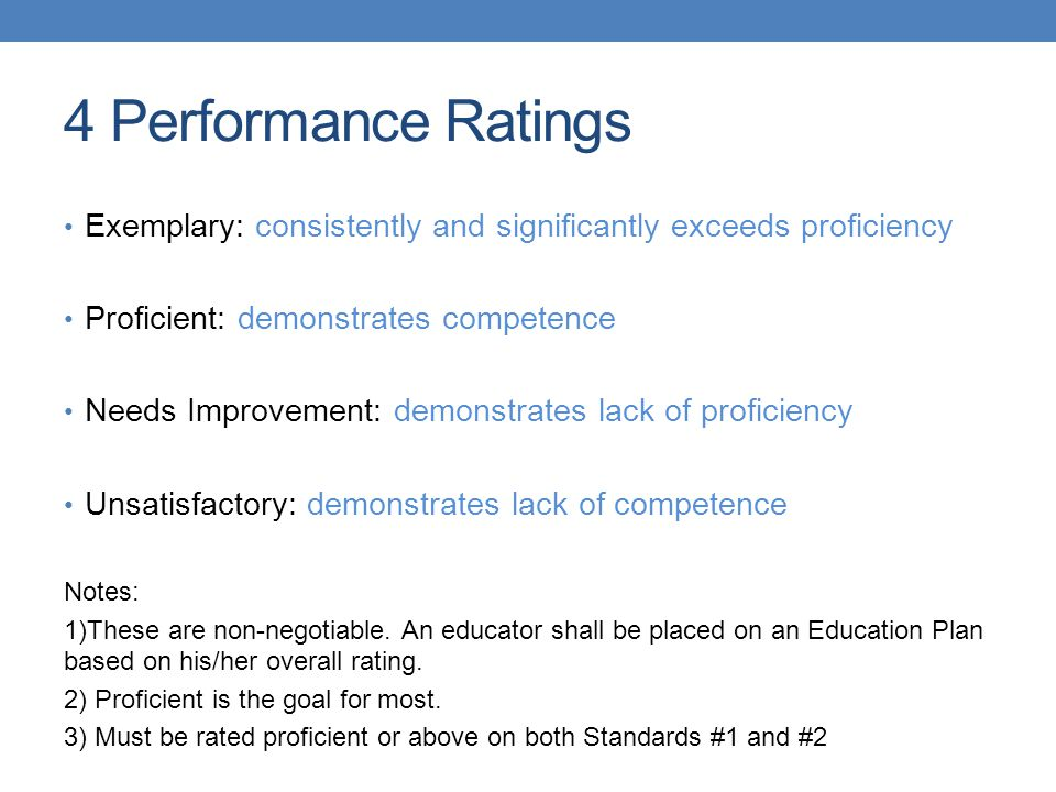 4 Performance Ratings Exemplary: consistently and significantly exceeds proficiency Proficient: demonstrates competence Needs Improvement: demonstrates lack of proficiency Unsatisfactory: demonstrates lack of competence Notes: 1)These are non-negotiable.