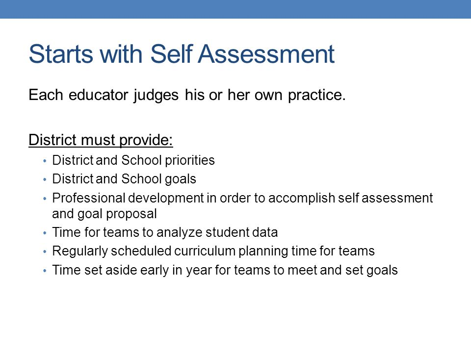 Starts with Self Assessment Each educator judges his or her own practice.