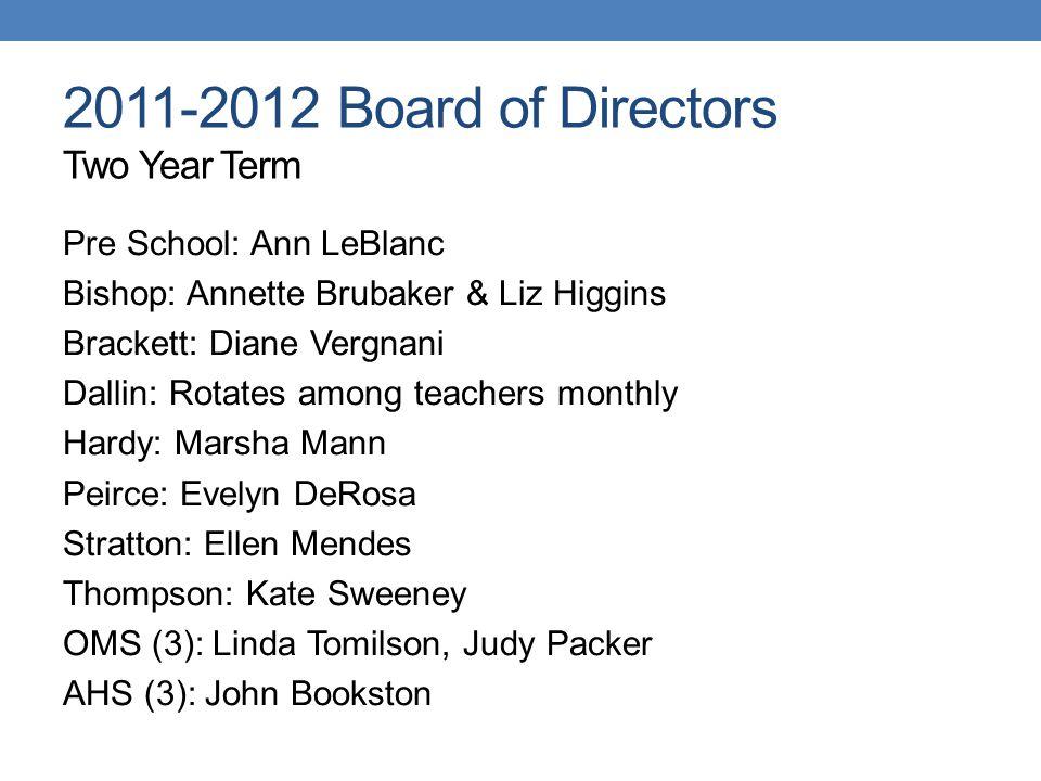 2011-2012 Board of Directors Two Year Term Pre School: Ann LeBlanc Bishop: Annette Brubaker & Liz Higgins Brackett: Diane Vergnani Dallin: Rotates amo