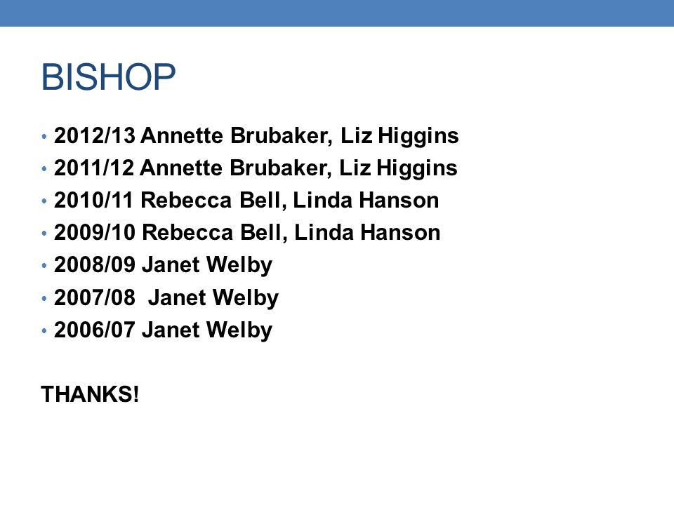 BISHOP 2012/13 Annette Brubaker, Liz Higgins 2011/12 Annette Brubaker, Liz Higgins 2010/11 Rebecca Bell, Linda Hanson 2009/10 Rebecca Bell, Linda Hans