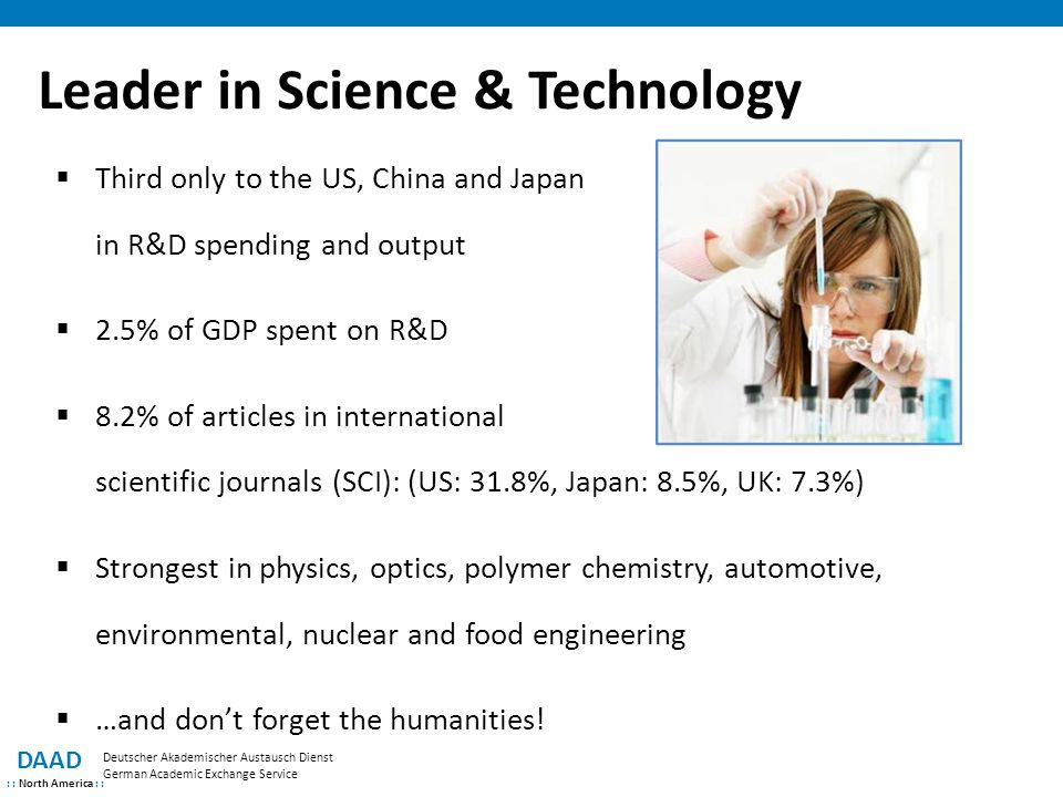Leader in Science & Technology DAAD : : North America : : Deutscher Akademischer Austausch Dienst German Academic Exchange Service  Third only to the US, China and Japan in R&D spending and output  2.5% of GDP spent on R&D  8.2% of articles in international scientific journals (SCI): (US: 31.8%, Japan: 8.5%, UK: 7.3%)  Strongest in physics, optics, polymer chemistry, automotive, environmental, nuclear and food engineering  …and don't forget the humanities!