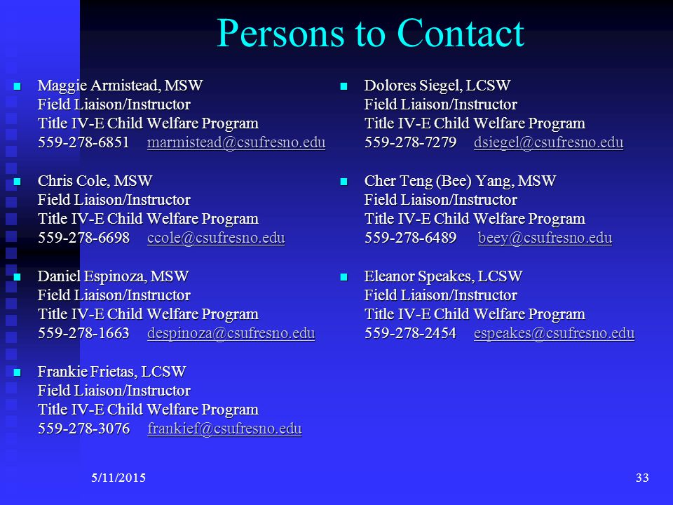 Persons to Contact Department of Social Work Education Department of Social Work Education  Dr.