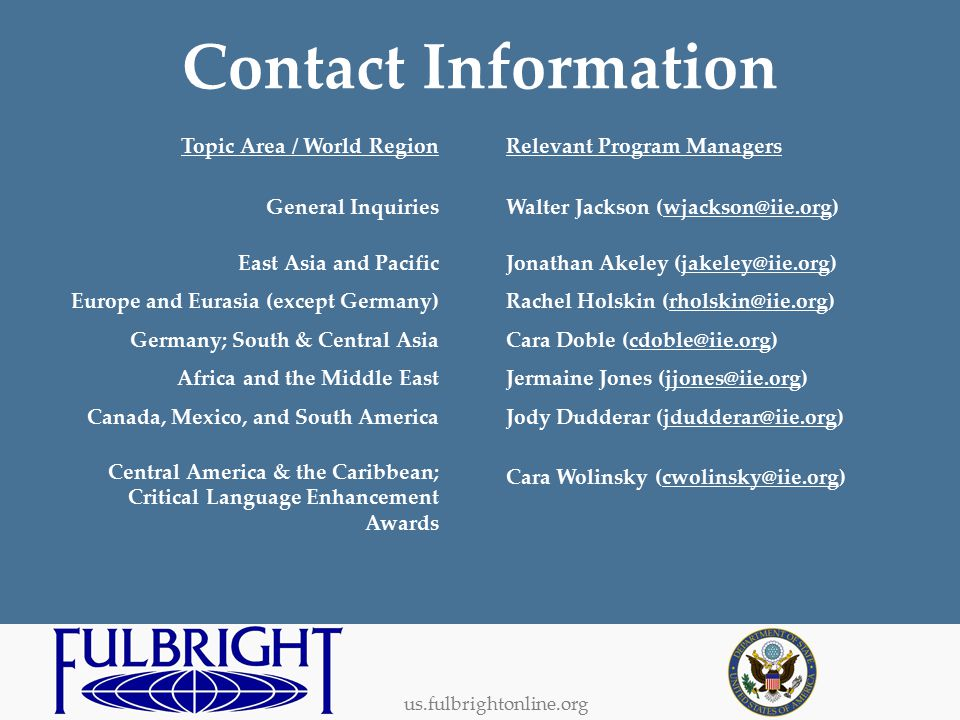 us.fulbrightonline.org Contact Information Relevant Program Managers Walter Jackson (wjackson@iie.org) Jonathan Akeley (jakeley@iie.org) Rachel Holskin (rholskin@iie.org) Cara Doble (cdoble@iie.org) Jermaine Jones (jjones@iie.org) Jody Dudderar (jdudderar@iie.org) Cara Wolinsky (cwolinsky@iie.org) Topic Area / World Region General Inquiries East Asia and Pacific Europe and Eurasia (except Germany) Germany; South & Central Asia Africa and the Middle East Canada, Mexico, and South America Central America & the Caribbean; Critical Language Enhancement Awards