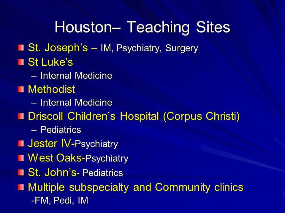 Houston– Teaching Sites St.
