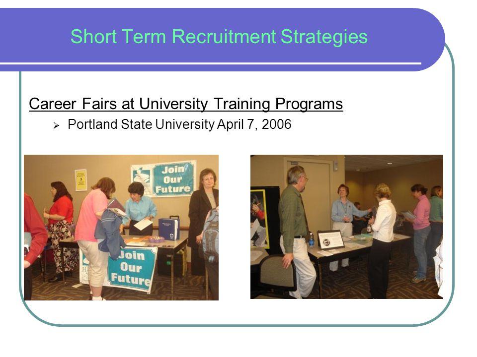 Short Term Recruitment Strategies Career Fairs at University Training Programs  Portland State University April 7, 2006