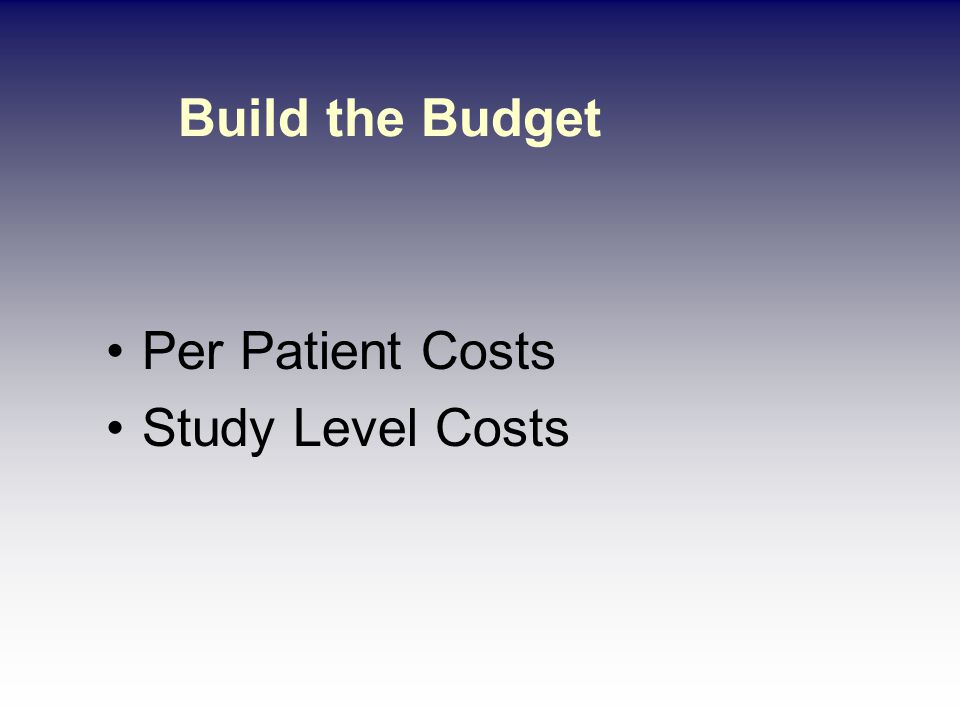 Per Patient Costs Breakdown procedures by Coordinator, Physician, and Hospital Fees –ECG cost / Pro Fees / Coordinator filing –Lab tests / review / CRF filing –ECHO cost / Pro Fees / CRF filing –Medical History / CRF filing –Dispensing fees Assign costs for coordinator / staff time Apply Indirect Cost rate – 25% Industry Sponsored Trials