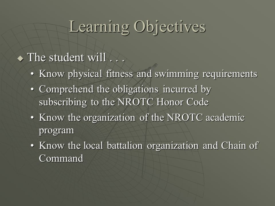Learning Objectives  The student will...