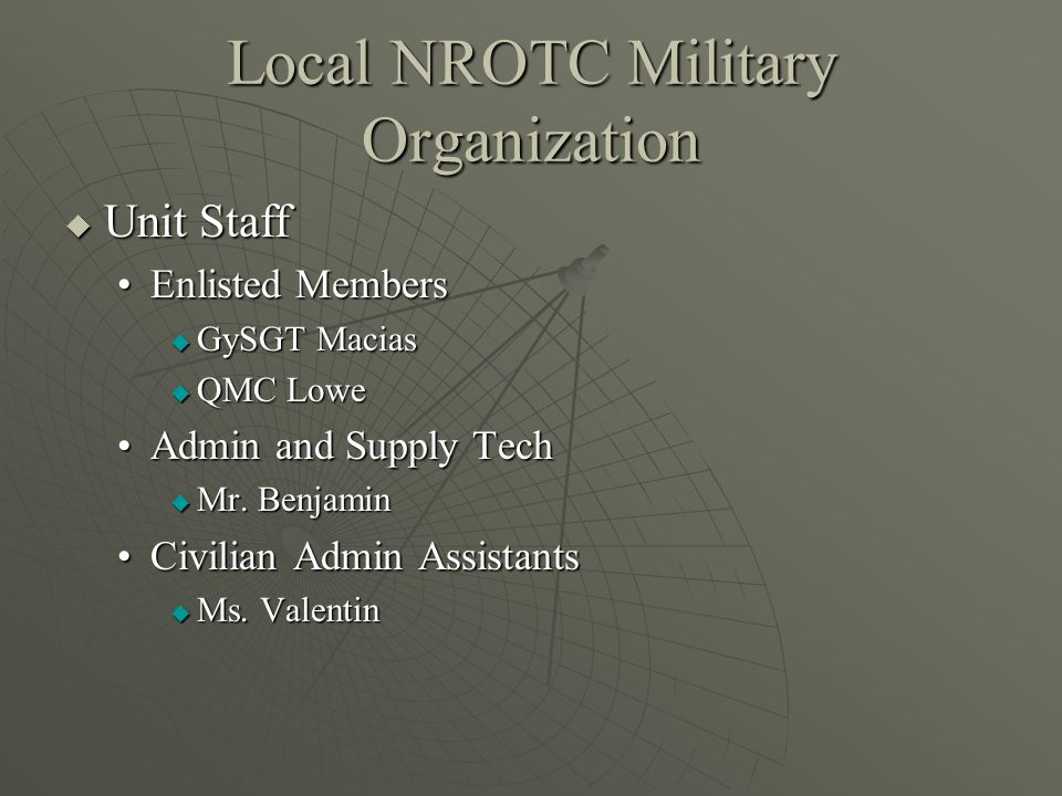 Local NROTC Military Organization  Unit Staff Enlisted MembersEnlisted Members  GySGT Macias  QMC Lowe Admin and Supply TechAdmin and Supply Tech  Mr.