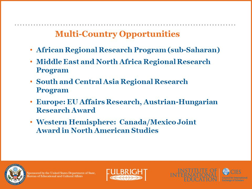 Multi-Country Opportunities African Regional Research Program (sub-Saharan) Middle East and North Africa Regional Research Program South and Central A