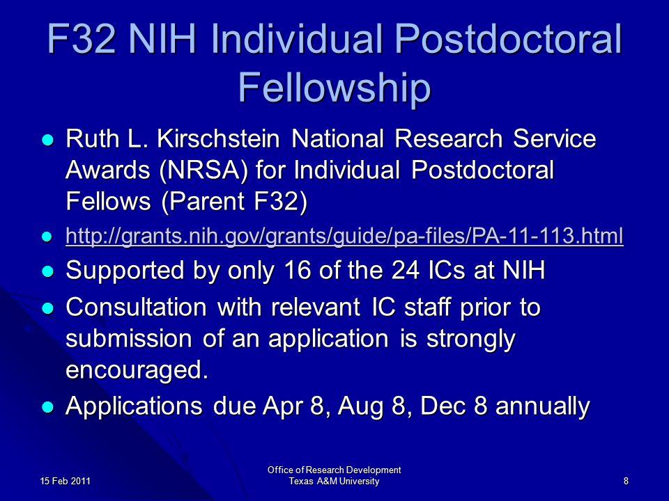 F32 NIH Individual Postdoctoral Fellowship Ruth L.