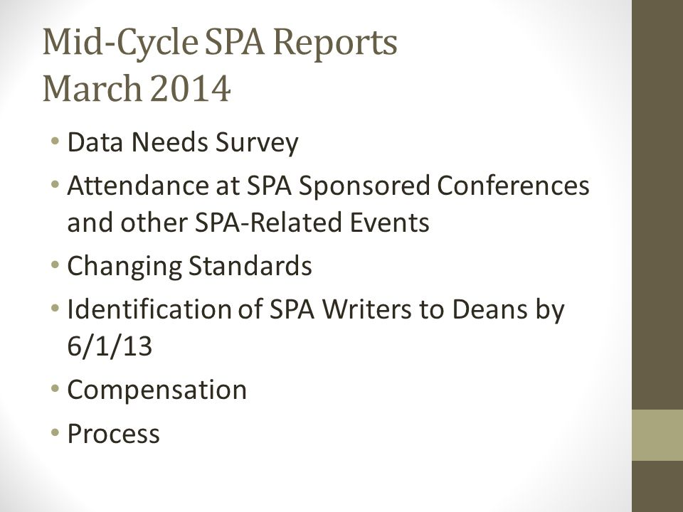 Mid-Cycle SPA Reports March 2014 Data Needs Survey Attendance at SPA Sponsored Conferences and other SPA-Related Events Changing Standards Identificat
