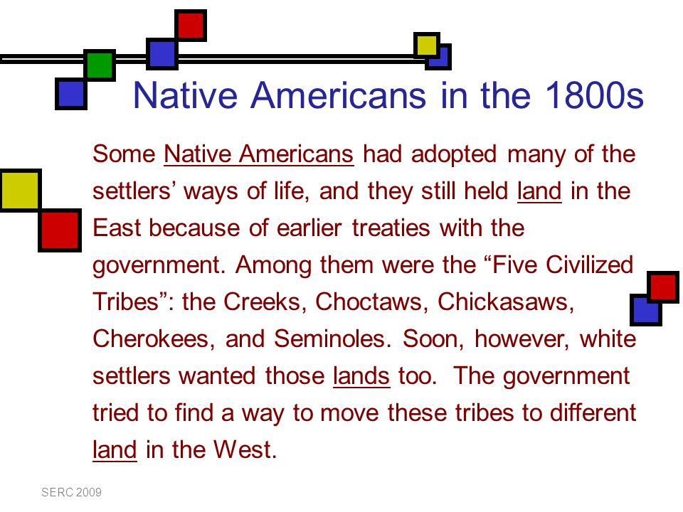 Native Americans in the 1800s SERC 2009 Some Native Americans had adopted many of the settlers' ways of life, and they still held land in the East because of earlier treaties with the government.