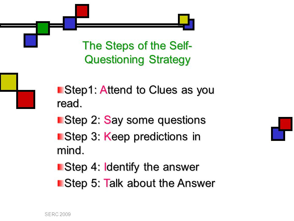 The Steps of the Self- Questioning Strategy Step1: Attend to Clues as you read.