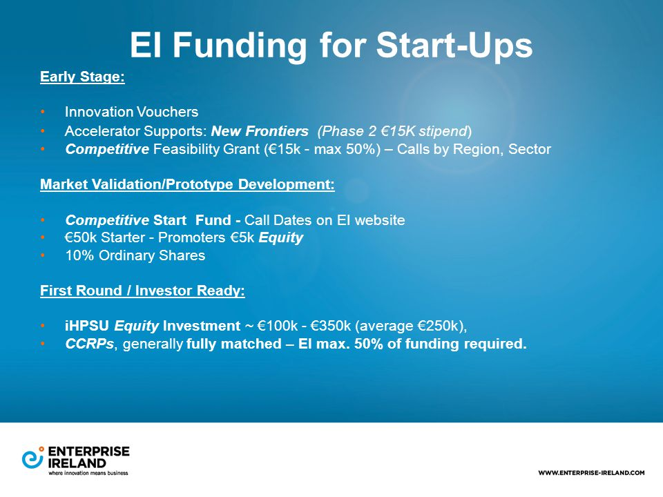 EI Funding for Start-Ups Early Stage: Innovation Vouchers Accelerator Supports: New Frontiers (Phase 2 €15K stipend) Competitive Feasibility Grant (€15k - max 50%) – Calls by Region, Sector Market Validation/Prototype Development: Competitive Start Fund - Call Dates on EI website €50k Starter - Promoters €5k Equity 10% Ordinary Shares First Round / Investor Ready: iHPSU Equity Investment ~ €100k - €350k (average €250k), CCRPs, generally fully matched – EI max.