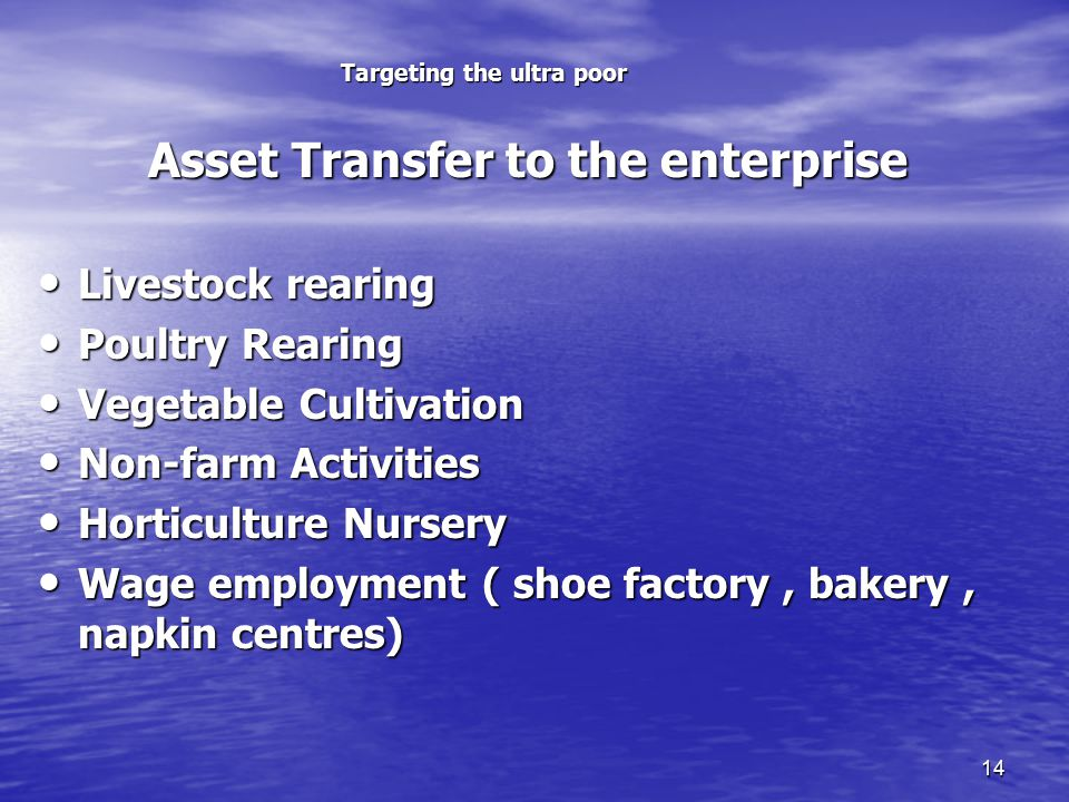 14 Targeting the ultra poor Asset Transfer to the enterprise Asset Transfer to the enterprise Livestock rearing Livestock rearing Poultry Rearing Poultry Rearing Vegetable Cultivation Vegetable Cultivation Non-farm Activities Non-farm Activities Horticulture Nursery Horticulture Nursery Wage employment ( shoe factory, bakery, napkin centres) Wage employment ( shoe factory, bakery, napkin centres)