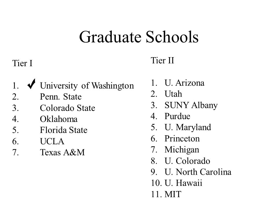 Graduate Schools Tier I 1. University of Washington 2.Penn.