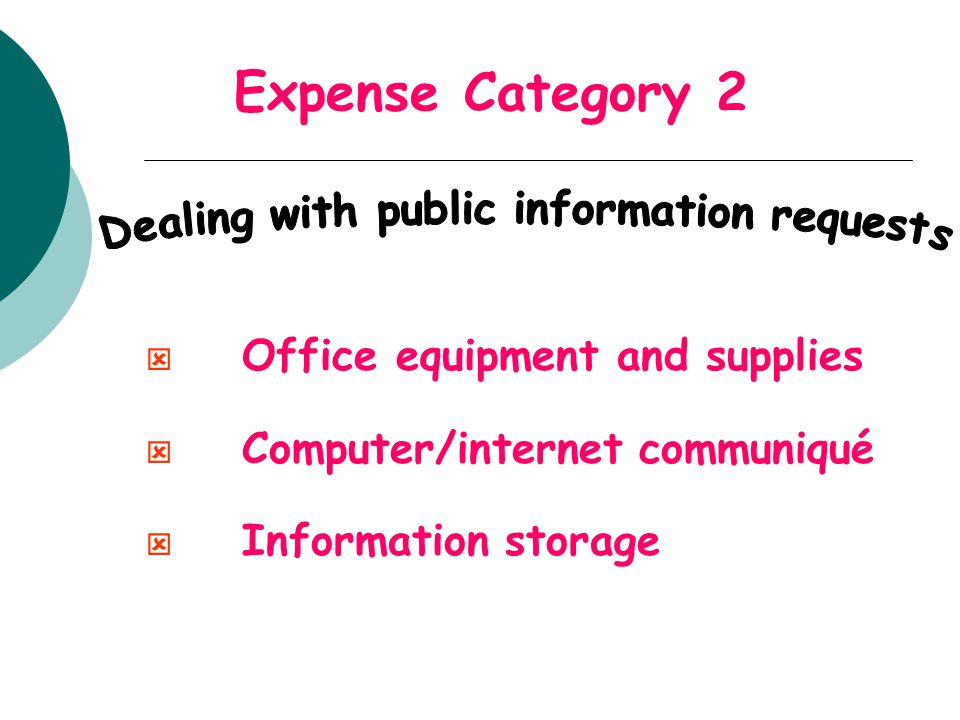 Expense Category 2 ý Office equipment and supplies ý Computer/internet communiqué ý Information storage