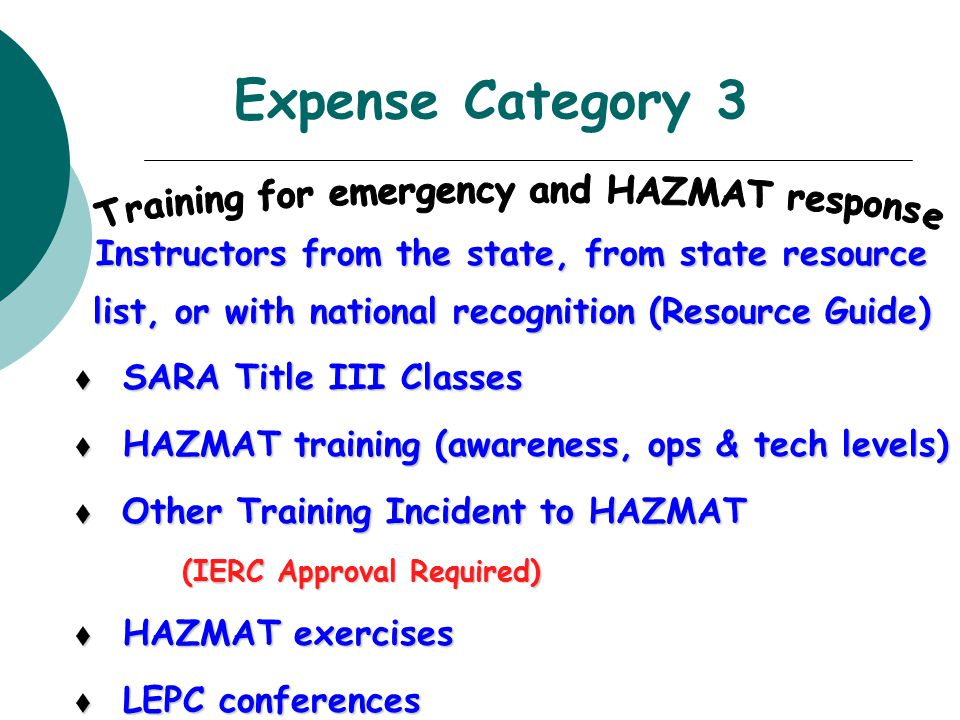 Expense Category 3 Instructors from the state, from state resource list, or with national recognition (Resource Guide) t SARA Title III Classes t HAZM