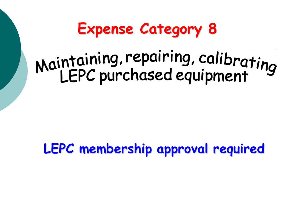 Expense Category 8 LEPC membership approval required